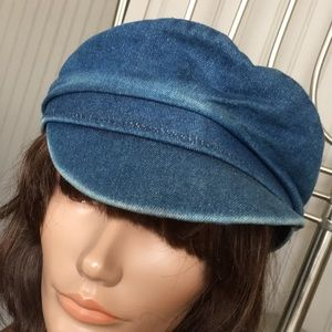 Vintage Denim Newsboy Hat Jean Cap